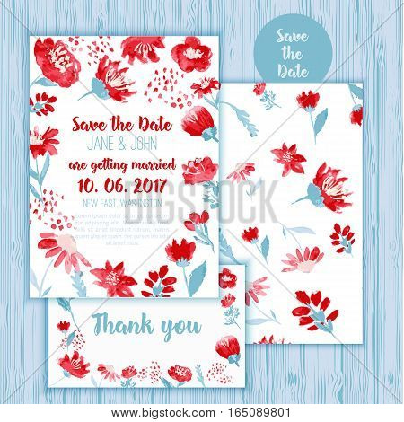 Watercolor effect save the date card template with flowers and leaves with thank you card.
