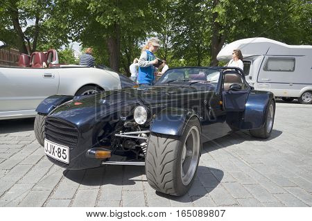 TURKU, FINLAND - JUNE 13, 2015: Donkervoort sports car at the auto show, parade in Turku. Finland