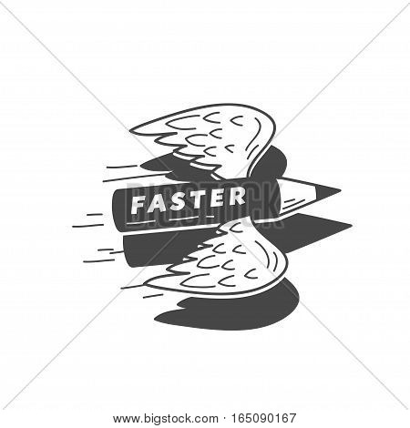 faster flying pensil with wings, vector illustration logo