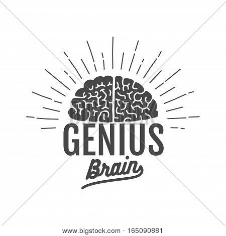 genius brain logo, isolated vector illustration art