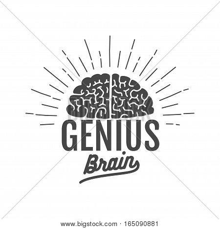 genius brain logo, isolated vector illustration art poster
