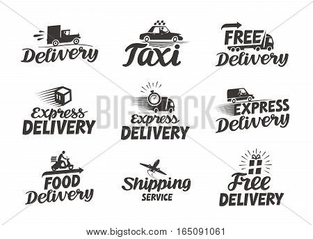 Express delivery service logo. Vector icon or symbol isolated on white background