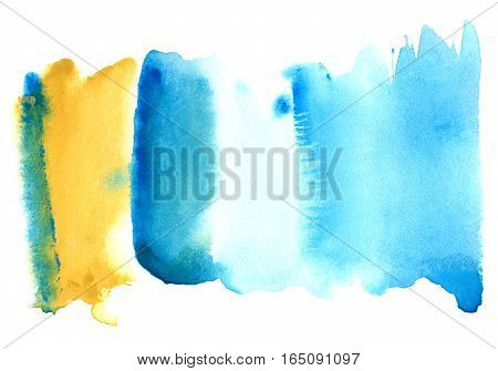 Blue watery spreading illustration. Abstract watercolor hand drawn image. Azure splash. White background.