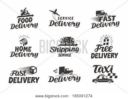 Delivery, shipping set icons. Vector illustration isolated on white background