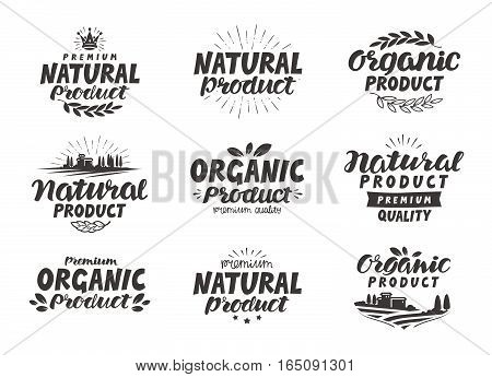 Natural Organic product icons or symbols. Beautiful lettering design of packaging for food cosmetic produce