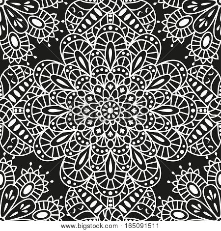 Seamless ethnic pattern with mandala. Arabic floral background. Golden and black colors. Detailed vector illustration.