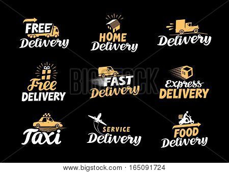 Delivery logo. Shipping vector icons set. Commerce symbols