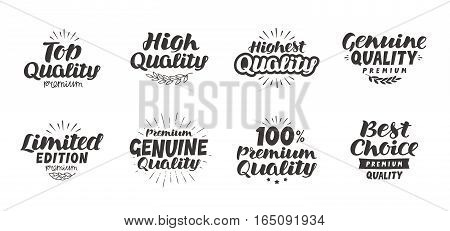 Promo set icons or symbols. Hand-drawn beautiful lettering high quality premium best choice genuine limited edition top