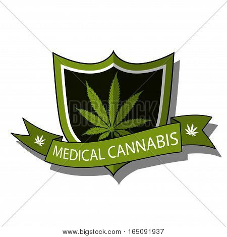 Illustration of medical cannabis as an emblem on a white background.