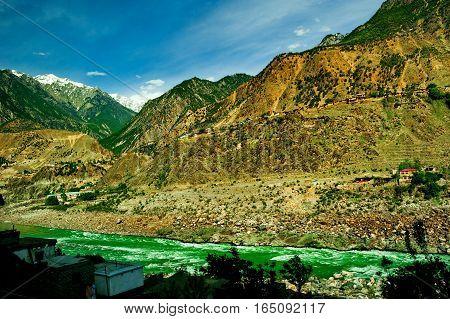 aerial view to Indus river and valley, Karakoram, Pakistan