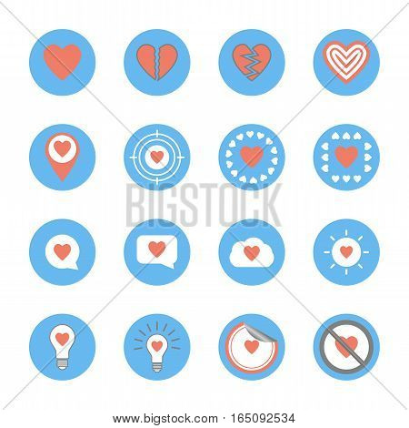 several style of heart icons set,vector Illustration EPS10