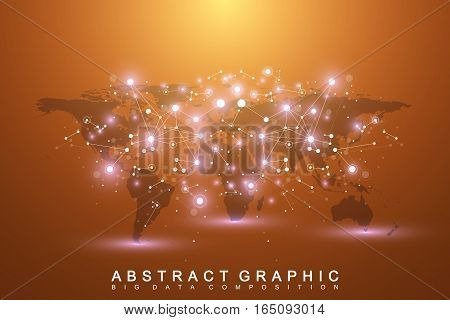 Geometric graphic background communication with World Map. Big data complex with compounds. Perspective backdrop. Minimal array. Digital data visualization. Scientific cybernetic vector illustration