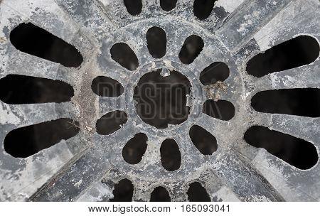 Close up black color Bottomless pot on background