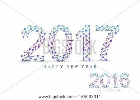 Text design Christmas and Happy new year 2017 or 2016 . Connected lines with dots. Lines plexus. Scientific cybernetic vector illustration