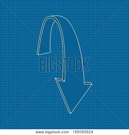 Down arrow. Outline icon on blueprint background. Vector illustration
