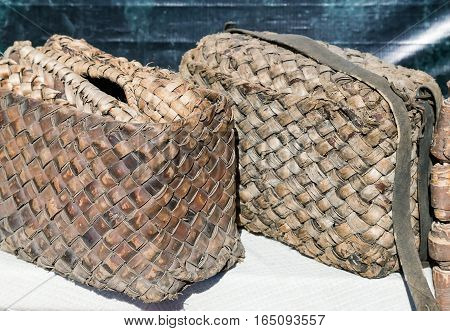 Demonstration of ancient objects of rural life: from woven bark bag peasants in Ancient Russia.