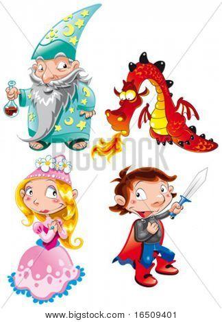 Vector character- Medieval Age - Princess, Prince, Dragon, Magician