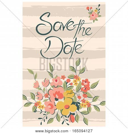 Save the date floral decorative card. Vector