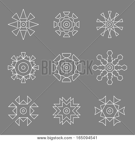 abstract white design line icon logos set,vector Illustration EPS10