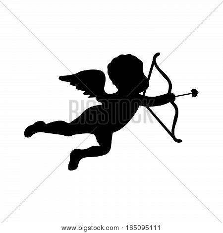 Cute Cupid Silhouette On White Background. Flat Isolated Vector Illustration