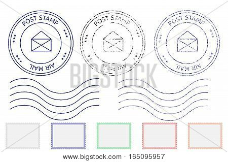 Post stamps partially faded. Vector illustration isolated on white background