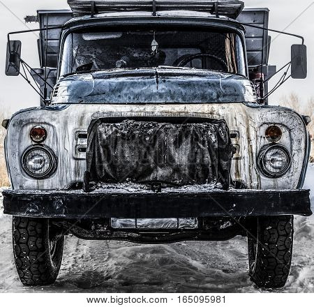 Old truck, old soviet truck, front view, grunge truck, truck, lorry