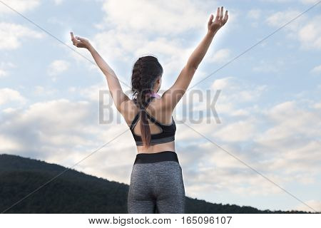 Fitness, Sport And Healthy Lifestyle Concept - Happy Teenage Woman Or Sportswoman Outdoors