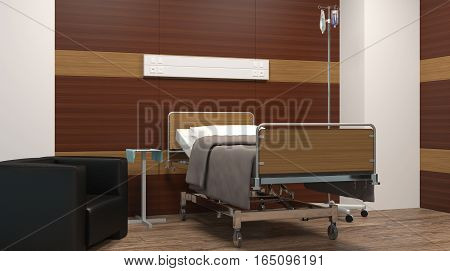 Hospital Ward. Interior Room In The Hospital. 3D Rendering
