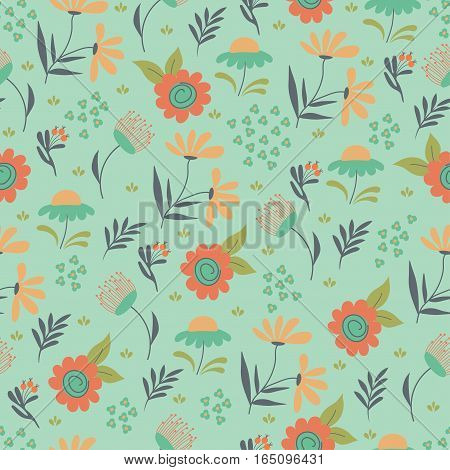 Seamless flower hand drawn drpattern. Vector illustratio