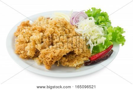 Thai Cuisine and Food Top View of Thai Traditional Crispy Catfish Salad Served With Green Oak Shredded Green Mango Red Onion Cabbage Chili and Peanut Isolated on White Background.