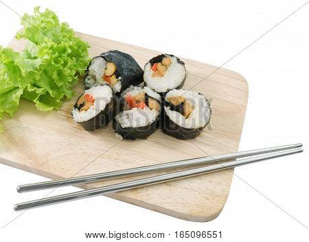 Japanese Cuisine Fresh Veggie Sushi Rolls or Vegetable Maki with Chopsticks Served on Wooden Tray.