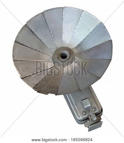 Old Retro Metal Flash Soft Box for Vintage Photo Camera Isolated on A White Background.