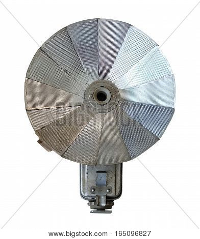 Old Vintage Metal Flash Soft Box for Vintage Photo Camera Isolated on A White Background.