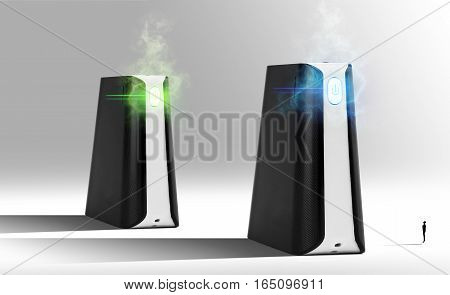 Futuristic Black Power bank with new technology  at grey background isolated