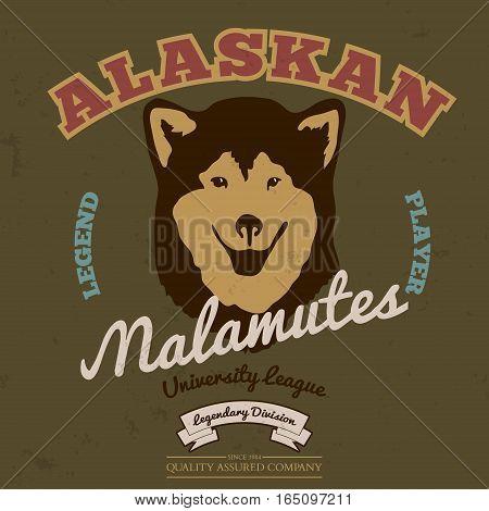 Alaskan malamute club. Tee graphic. Vector. Grunge effect on separate layer