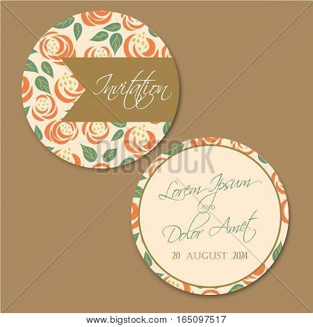 Beautiful round, double-sided vintage wedding invitation card