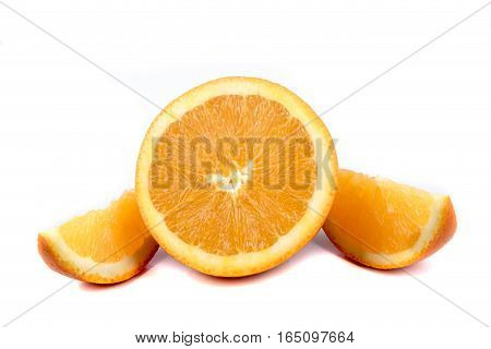 A sliced orange isolated on a white background