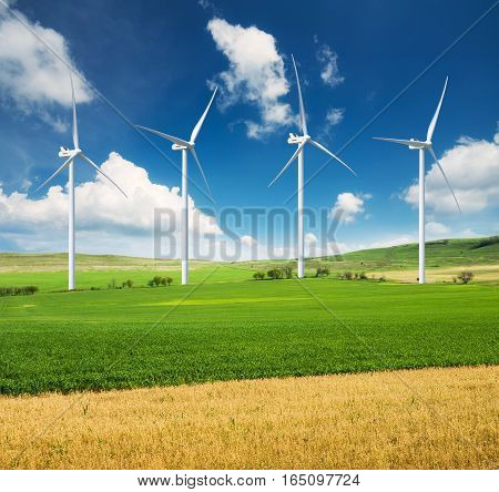 Wind power station. Ecological energy composition. Concept and idea
