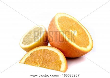 A selection of sliced citrus fruit isolated