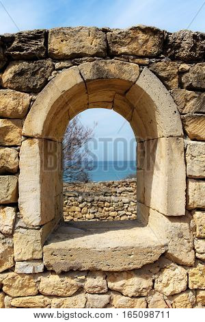 old walls and windows in the Chersonesos Crimea