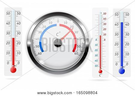 Set of thermometers. Realistic vector illustration isolated on white background