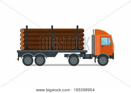Heavy loaded logging timber truck vector. Industrial cargo forestry lumber pile trailer transport. Wooden business shipping equipment illustration.