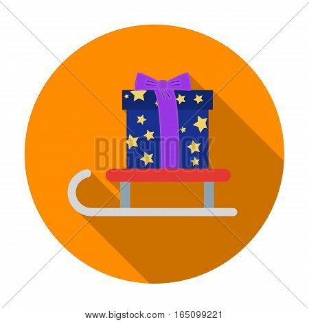 Christmas gift on a sledge icon in flat style isolated on white background. Christmas Day symbol vector illustration.