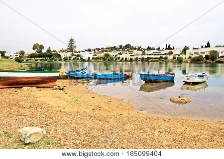 Fishing boats near village in Carthage, Tunisia
