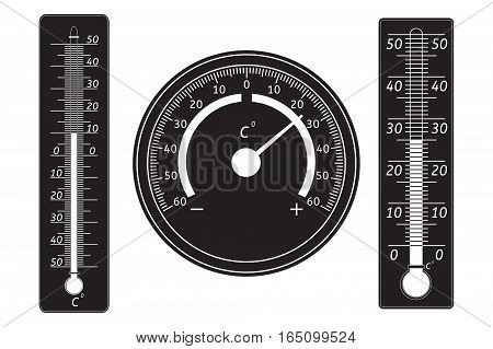 Set of thermometers. Black icons. Vector illustration isolated on white background