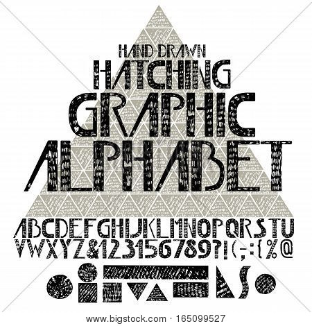 Hand drawn graphic alphabet in hatching technique. Vector letters and numerals. Composite triangle on background. Geometric shapes.