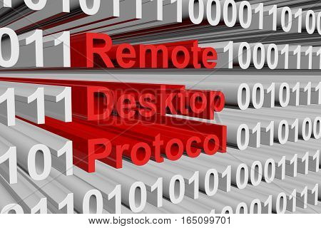 Remote Desktop Protocol is presented in the form of binary code 3d illustration