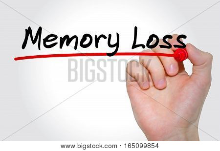 Hand Writing Inscription Memory Loss With Marker, Concept