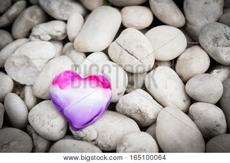Heart On Pebble Stones, Valentine's Day Background