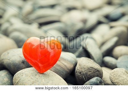 Red Heart On Pebble Stones, Valentine's Day Background